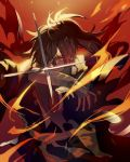 1boy amputee black_hair dororo_(tezuka) fighting_stance fire hair_over_one_eye hyakkimaru_(dororo) japanese_clothes long_hair looking_at_viewer missing_limb ponytail prosthesis prosthetic_arm red_eyes solo sword tsugutoku weapon