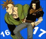 2boys android_16 android_17 belt black_border black_hair black_shirt blue_background blue_eyes border character_name denim dragon_ball dragonball_z expressionless fingernails hands_in_pockets jeans long_sleeves looking_away lowres male_focus mohawk multiple_boys neckerchief nitako number orange_neckwear pants profile red_ribbon_army redhead serious shirt short_hair simple_background