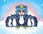 1girl akairiot animal animal_costume bird blue_eyes blue_hair chibi eyebrows_visible_through_hair fangs frostbite-chan_(akairiot) frostbite_(tournament) full_body hat looking_at_viewer no_nose open_mouth penguin penguin_costume smile snow snowing standing zipper zipper_pull_tab