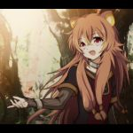 1girl animal_ear_fluff animal_ears bracelet brown_hair collar commentary hayase_jun jewelry long_hair messy_hair open_mouth outstretched_arm raccoon_ears raphtalia red_eyes short_twintails standing tate_no_yuusha_no_nariagari tree twintails