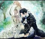 1boy 1girl animal black_hair blonde_hair braid braided_ponytail brown_hair cyrus_(octopath_traveler) fur_trim gloves h'aanit_(octopath_traveler) jewelry linde_(octopath_traveler) long_hair necklace octopath_traveler okii ponytail short_hair simple_background smile snow_leopard