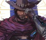 1boy beard black_hair blue_background brown_eyes cigar cowboy_hat facial_hair hand_on_headwear hat jang_ju_hyeon light_smile lips looking_at_viewer male_focus mccree_(overwatch) mechanical_arm overwatch poncho portrait short_hair sketch smoking solo striped striped_background vertical-striped_background vertical_stripes white_background