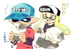 1boy 1girl aqua_hair bangs blonde_hair blue_eyes blunt_bangs breasts cat cellphone commentary_request domino_mask drooling fangs hat inkling jajji-kun_(splatoon) kitten kojajji-kun_(splatoon) large_breasts long_hair mask minamidena nintendo open_mouth phone pointy_ears shirt shoes short_hair shorts sleeping smile splatoon splatoon_(series) splatoon_2 sweatdrop t-shirt tentacle_hair translation_request yellow_eyes