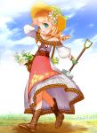 1girl arm_up bag blue_eyes blue_sky blush bow breasts brown_footwear clouds day dress drill_hair floral_print flower gloves grass green_bow green_gloves hair_flower hair_ornament handbag harvest_moon hat hat_bow holding_shovel jewelry lily_(flower) lisette_(story_of_seasons:_trio_of_towns) manohiro_yuki necklace open_mouth outdoors shovel sky small_breasts solo story_of_seasons:_trio_of_towns sun_hat twin_drills walking