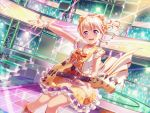 bang_dream! blonde_hair blush dress guitar long_hair shirasagi_chisato smile violet_eyes wink