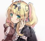 1girl bandage_over_one_eye bangs black_bow black_dress black_ribbon blonde_hair blurry blurry_background blush bow brown_background closed_mouth crown depth_of_field dress eyebrows_visible_through_hair fingernails gothic_lolita gradient gradient_background green_eyes hair_bow hands_up juliet_sleeves lolita_fashion long_hair long_sleeves looking_at_viewer mini_crown multicolored_hair original pikomint pink_hair puffy_sleeves ribbon solo streaked_hair stuffed_animal stuffed_bunny stuffed_toy twintails white_background