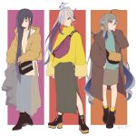 3girls ahoge ankle_boots asashimo_(kantai_collection) bag black_footwear black_hair boots casual closed_eyes coat colis commentary_request earrings grey_eyes grey_hair hair_between_eyes hair_over_one_eye handbag hayashimo_(kantai_collection) high_heel_boots high_heels jacket jewelry kantai_collection kiyoshimo_(kantai_collection) long_skirt multiple_girls one_eye_covered ponytail silver_hair skirt socks winter_clothes winter_coat yellow_legwear