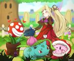 1girl 1other animal blonde_hair blush closed_eyes copy_ability creatures_(company) dress flower game_freak gen_1_pokemon hair_flower hair_ornament hal_laboratory_inc. hat hoshi_no_kirby ippers ivysaur kid_icarus kid_icarus_uprising kirby kirby_(series) long_hair super_mario_bros. nachure nintendo ohmoto_makiko open_mouth pikmin_(creature) pikmin_(series) piranha_plant pokemon pokemon_(creature) pokemon_(game) ponytail seiyuu_connection side_ponytail smile sora_(company) spikes super_mario_bros. super_smash_bros. super_smash_bros._ultimate teeth very_long_hair water