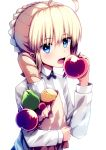 1girl absurdres ahoge apple artoria_pendragon_(all) bag baguette bangs black_neckwear blonde_hair blue_eyes blush braid bread breasts commentary_request eyebrows_visible_through_hair fate/stay_night fate_(series) food fruit highres holding holding_bag holding_food holding_fruit long_sleeves looking_at_viewer open_mouth peach red_apple ribbon saber shirt short_hair simple_background small_breasts solo tranquillianusmajor upper_body white_background white_shirt