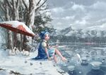 1girl barefoot blue_eyes blue_hair blush blush_stickers bow cirno clouds commentary dress forest frog frown frozen frozen_frog hair_bow ice ice_wings lake lily_pad looking_at_viewer looking_to_the_side magic mansion mountain nagi_(xx001122) nature neck_ribbon parasol rabbit ribbon scarlet_devil_mansion scenery short_hair sitting sky snow solo the_embodiment_of_scarlet_devil touhou tree umbrella water wings winter