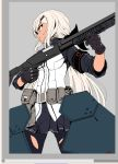 1girl armor bangs belt belt_buckle belt_pouch black_gloves blue_skirt breasts buckle commentary_request cowboy_shot dark_skin eyebrows girls_frontline gloves gun hair_between_eyes hair_ornament hair_ribbon hairclip holding holding_weapon long_hair looking_to_the_side low_ponytail medium_breasts mossberg_590 mossberg_m590_(girls_frontline) pantyhose pleated_skirt pouch pump_action ribbon shotgun shotgun_shells simple_background skirt sleeves_past_elbows solo stomach striped striped_skirt thigh_gap torn_clothes torn_legwear trigger_discipline vertical_foregrip very_long_hair weapon white_hair yaruku yellow_eyes