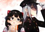 2girls :d bangs bespectacled black_eyes black_hair blush book bow braid cherry_blossoms closed_mouth eyebrows_visible_through_hair glasses gloves grey_hair hair_bow hair_down hair_ornament hair_over_shoulder hairclip hat higuchi_kaede holding holding_book long_hair long_sleeves looking_at_another looking_to_the_side medal military military_hat military_uniform mole mole_under_eye multiple_girls nijisanji nuezou open_mouth petals round_eyewear smile smirk twin_braids uniform upper_body violet_eyes white_gloves