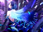 1girl above_clouds back backless_dress backless_outfit bangs bare_shoulders black_choker black_gloves blue_dress blue_hair blurry breasts checkered checkered_floor choker commentary_request depth_of_field dress elbow_gloves fantasy feathered_wings feathers frilled_dress frills from_behind full_moon giba_(out-low) gloves hair_ornament hayami_kanade highres idolmaster idolmaster_cinderella_girls idolmaster_cinderella_girls_starlight_stage light_particles long_dress looking_at_viewer looking_back medium_breasts moon night parted_bangs pillar reflection short_hair sidelocks solo standing wings yellow_eyes