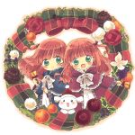 2girls :d animal bangs blush bow capelet christmas christmas_ornaments closed_mouth clothed_animal dot_nose fur- green_eyes highres holding long_sleeves looking_at_viewer multiple_girls open_mouth orange_hair original short_hair smile suzuri_(suzurityan) tareme very_short_hair