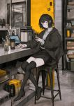 1girl absurdres bangs black_footwear black_hair black_jacket black_skirt boots bottle box chair closed_mouth coffee_cup collared_shirt computer cup disposable_cup earphones expressionless flask highres holding holding_pen indoors jacket jar laptop lavender_quartz lm7_(op-center) long_sleeves looking_at_viewer open_clothes open_jacket pen pencil_skirt puffy_sleeves reflection shelf shirt short_hair sidelocks sitting skirt sleeves_past_wrists solo stool table thigh-highs thigh_boots violet_eyes white_shirt zettai_ryouiki