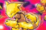 abra claws closed_eyes creature feet_out_of_frame gen_1_pokemon kusajima_hajime no_humans official_art pokemon pokemon_(creature) pokemon_trading_card_game solo standing third-party_source