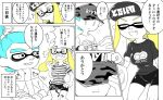 1boy 1girl ? aqua_hair bags_under_eyes bangs beanie blonde_hair blue_eyes blunt_bangs breasts closed_eyes comic commentary_request domino_mask fangs gameplay_mechanics hair_ornament hat inkling large_breasts long_hair mask minamidena nintendo open_mouth pointy_ears shirt short_hair smile splatoon splatoon_(series) splatoon_2 spoken_question_mark striped striped_shirt sweatdrop t-shirt tentacle_hair ticket translation_request wide_hips yellow_eyes