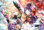 2019 2girls animal bamboo bare_tree black_gloves black_hat blonde_hair blue_eyes blue_hair blue_kimono blurry boar brown_eyes carrying chinese_zodiac closed_mouth commentary_request day depth_of_field floral_print flower furisode glasses gloves hagoita hair_flower hair_ornament happy_new_year hat head_tilt heart highres japanese_clothes kimono long_hair long_sleeves mountain multicolored_hair multiple_girls nemusuke new_year obi oriental_umbrella original outdoors paddle print_kimono purple_hair red_flower sash sidelocks smile snow streaked_hair sunlight tilted_headwear torii tree tree_branch umbrella upper_body very_long_hair wavy_hair white_kimono wide_sleeves winter year_of_the_pig