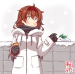 1girl artist_logo black_gloves brown_eyes brown_hair can canned_coffee dated fence gloves hairband highres kanon_(kurogane_knights) kantai_collection long_hair red_hairband remodel_(kantai_collection) shiratsuyu_(kantai_collection) snow snow_bunny solo white_background white_coat winter_clothes