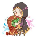 1boy 1girl bracelet chibi chiki closed_mouth fire_emblem fire_emblem:_kakusei fire_emblem:_monshou_no_nazo fire_emblem_heroes green_eyes green_hair hood hood_up jewelry long_sleeves male_my_unit_(fire_emblem:_kakusei) mamkute my_unit_(fire_emblem:_kakusei) nintendo robe shunrai simple_background smile standing tiara white_background white_hair