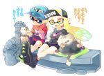 1boy 1girl aqua_hair bangs bike_shorts black_shorts blonde_hair blue_eyes blunt_bangs breasts cat cellphone commentary_request domino_mask fangs gatling_gun hat inkling jajji-kun_(splatoon) kitten kojajji-kun_(splatoon) large_breasts long_hair mask minamidena nintendo open_mouth phone pointy_ears shirt shoes short_hair shorts smartphone smile sneakers splatoon splatoon_(series) splatoon_2 sweatdrop t-shirt tentacle_hair translation_request yellow_eyes