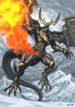 1boy arm_blade claws dragon dragon_horns dragon_tail fire glowing highres horn horns kamen_rider kamen_rider_kuuga kamen_rider_kuuga_(series) kamen_rider_kuuga_(ultimate_form) large_wings looking_at_viewer male_focus no_humans no_pupils open_mouth red_eyes scales sennsu shoulder_armor solo tail weapon western_dragon wings