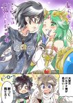 2koma @_@ bayonetta bayonetta_(character) black_hair black_wings blush brown_hair comic dark_pit earrings eromame flirting glasses green_hair jewelry kid_icarus kid_icarus_uprising mole mole_under_mouth nintendo palutena pendant pit_(kid_icarus) shield super_smash_bros. tiara twitter_username wings yuri