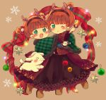 2girls :d ;) animal antlers bangs blush bow brown_background capelet christmas christmas_ornaments closed_mouth clothed_animal copyright_request dot_nose fake_antlers fake_facial_hair fake_mustache fur-trimmed_capelet fur_collar fur_trim gingham gingham_capelet green_capelet green_eyes hair_bow holding long_sleeves looking_at_viewer multiple_girls one_eye_closed open_mouth orange_hair plaid plaid_bow red_bow reindeer_antlers short_hair smile tareme very_short_hair