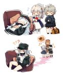 4girls ?? bandaid bandaid_on_nose blush_stickers briefcase closed_eyes commentary_request couch covering_face doughnut food g11_(girls_frontline) girls_frontline hands_clasped hat hs2000_(girls_frontline) jacket messy_hair multiple_girls own_hands_together pantyhose ponytail ribeyrolles_1918_(girls_frontline) shirt shuzi simple_background sleeping tears white_background white_hair white_legwear