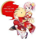1girl 2019 :d bangs black_footwear blue_flower blush chinese_zodiac commentary_request eyebrows_visible_through_hair floral_print flower full_body hair_flower hair_ornament happy_new_year highres japanese_clothes kimono long_hair looking_at_viewer nengajou new_year open_mouth original pink_hair print_kimono red_flower red_kimono sidelocks smile socks solo tabi translated violet_eyes white_background white_legwear year_of_the_pig yellow_flower youta zouri