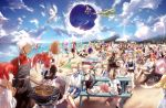 6+boys 6+girls absurdres ahoge alternate_costume amakusa_shirou_(fate) animal_ears anne_bonny_(fate/grand_order) apron archer artoria_pendragon_(all) artoria_pendragon_(lancer) artoria_pendragon_(lancer_alter) beach bedivere bikini black_dress black_gloves blanket blonde_hair blue_eyes boudica_(fate/grand_order) bow braid breasts caster_(fate/zero) character_request clouds cross dark_skin dark_skinned_male dragging dress edmond_dantes_(fate/grand_order) edward_teach_(fate/grand_order) fate/grand_order fate_(series) first_aid_kit flag florence_nightingale_(fate/grand_order) food fou_(fate/grand_order) fox_ears fox_tail francis_drake_(fate) frankenstein's_monster_(fate) fujimaru_ritsuka_(female) fujimaru_ritsuka_(male) gawain_(fate/extra) glasses gloves green-hat green_eyes grill grilling hair_between_eyes hair_bun hair_ornament hair_over_one_eye hair_ribbon hair_scrunchie hamburger hassan_of_serenity_(fate) hat hiding highres horns innertube jack_the_ripper_(fate/apocrypha) jeanne_d'arc_(alter)_(fate) jeanne_d'arc_(fate) jeanne_d'arc_(fate)_(all) jeanne_d'arc_alter_santa_lily jewelry kiyohime lancelot_(fate/grand_order) leonardo_da_vinci_(fate/grand_order) long_hair long_sleeves maid_dress maid_headdress mary_read_(fate/grand_order) mash_kyrielight meat minamoto_no_raikou_(fate/grand_order) mordred_(fate) mordred_(fate)_(all) multiple_boys multiple_girls multiple_persona mysterious_heroine_x necklace nursery_rhyme_(fate/extra) ocean oda_nobunaga_(fate) okita_souji_(fate) okita_souji_(fate)_(all) open_mouth orange_eyes orange_hair outdoors paw_gloves paws pink_hair pirate_hat plate pointing ponytail purple_hair raft red_ribbon redhead ribbon romani_archaman saber saber_alter saber_lily sandals scrunchie shore short_hair shorts side_ponytail silver_hair sitting sky smile swimming swimsuit table tail tamamo_(fate)_(all) tamamo_cat_(fate) too_many trench_coat tristan_(fate/grand_order) twin_braids twintails user_hwvm7837 v very_long_hair violet_eyes water waving white_ha