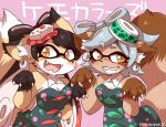 2girls animal_ears aori_(splatoon) black_hair blush breasts claws cleavage detached_collar domino_mask earrings eromame fangs food fox_ears fox_girl fox_tail fur furrification furry grey_hair hat hotaru_(splatoon) jewelry kitsune mask medium_breasts mole mole_under_eye multicolored_hair multiple_girls object_on_head raccoon_ears raccoon_tail redhead smile splatoon splatoon_(series) splatoon_1 sushi symbol-shaped_pupils tail tanuki tentacle tentacle_hair two-tone_hair
