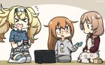 >_< 3girls alternate_costume anchor_symbol beige_dress blonde_hair blue_shirt box braid breast_pocket breasts brown_hair brown_sweater clothes_writing cloud_hair_ornament cloud_print collared_shirt commentary_request crescent dated gambier_bay_(kantai_collection) glasses gloves gradient_hair hairband hamu_koutarou highres kantai_collection kneeling large_breasts light_brown_hair long_hair masu minegumo_(kantai_collection) mochizuki_(kantai_collection) multicolored multicolored_clothes multicolored_gloves multicolored_hair multiple_girls nintendo_switch pocket red-framed_eyewear red_eyes shirt short_sleeves shorts sleepwear sweater thigh-highs twin_braids twintails white_legwear