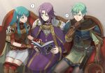 ! 1girl 2boys ? aqua_hair belt blue_eyes book breastplate brother_and_sister brown_gloves cape circlet closed_mouth couch eirika ephraim fingerless_gloves fire_emblem fire_emblem:_seima_no_kouseki gloves holding holding_book kyufe long_hair long_sleeves lyon_(fire_emblem) multiple_boys nintendo open_book open_mouth purple_hair short_hair short_sleeves siblings sitting skirt spoken_exclamation_mark spoken_question_mark violet_eyes white_skirt