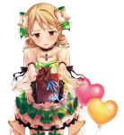 1girl black_gloves blush bow box brooch brown_eyes chocolate commentary_request dress drill_hair frown garter_straps gift gift_box gloves green_bow green_dress green_legwear green_skirt hair_bow heart_balloon idol idolmaster idolmaster_cinderella_girls incoming_gift jewelry layered_skirt light_brown_hair looking_down medium_hair morikubo_nono okeno_kamoku partial_commentary plaid plaid_bow plaid_skirt pov puffy_sleeves reaching_out ringlets see-through see-through_sleeves skirt solo standing tied_sleeves valentine white_background