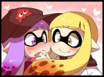 2girls artist_name baseball_cap black_border blonde_hair blush border cheek-to-cheek domino_mask eromame fang_out hand_on_another's_chin hat heart imminent_kiss inkling long_hair mask multiple_girls pointy_ears purple_hair splatoon splatoon_(series) splatoon_1 sweat tentacle_hair twitter_username violet_eyes yellow_eyes yuri