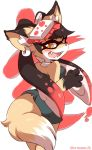 1girl animal_ears aori_(splatoon) black_hair claws detached_collar domino_mask earrings eromame fangs food fox_ears fox_girl fox_tail fur furrification furry jewelry kanji kitsune mask multicolored_hair object_on_head redhead splatoon splatoon_(series) splatoon_1 sushi symbol-shaped_pupils tail tentacle tentacle_hair two-tone_hair