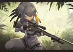 1girl bangs belt bird_tail bird_wings blonde_hair collared_shirt commentary commentary_request cowboy_shot elbow_gloves eyebrows_visible_through_hair gloves green_eyes grey_hair guchico gun hair_between_eyes hair_tie head_wings holding holding_gun holding_weapon kemono_friends multicolored_hair necktie pantyhose rifle shirt shoebill_(kemono_friends) short_hair short_sleeves shorts sniper_rifle solo uniform weapon winchester_model_70 wings
