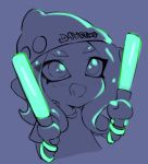 1girl :d beanie bracelet dot_nose eyes_visible_through_hair fang glowstick hat holding jewelry jtveemo long_hair octarian octoling open_mouth purple_background shirt short_sleeves smile solo splatoon splatoon_(series) splatoon_2 suction_cups t-shirt tentacle_hair