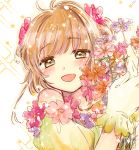 1girl :d bare_shoulders blush bouquet brown_hair card_captor_sakura eyebrows_visible_through_hair flower gloves green_eyes hair_flower hair_ornament highres holding holding_bouquet kinomoto_sakura looking_at_viewer off-shoulder_shirt off_shoulder open_mouth pink_flower portrait sakuramoti0511 shirt short_hair short_sleeves sketch smile solo white_gloves