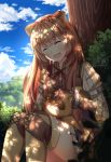 1girl :d animal animal_ears ardenlolo artist_name bangs black_skirt blue_sky blurry blush boots brown_footwear closed_eyes clouds cloudy_sky commentary day depth_of_field feet_out_of_frame head_tilt long_hair looking_at_viewer miniskirt neck_ribbon open_mouth outdoors petting plant raccoon raccoon_ears raphtalia red_neckwear ribbed_shirt ribbon shirt sitting skirt sky smile solo tate_no_yuusha_no_nariagari thigh-highs thigh_boots tree_shade twitter_username