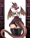 1girl ass backless_outfit black_legwear black_panties book commentary_request cowboy_shot dragon_girl dragon_horns dragon_tail dragon_wings expressionless from_behind granblue_fantasy grea_(shingeki_no_bahamut) highres holding holding_book horns long_sleeves looking_at_viewer looking_back manaria_friends open_door panties plaid plaid_skirt pointy_ears purple_hair shingeki_no_bahamut shirt short_hair simple_background skirt solo tail thigh-highs tk_(butakuma) underwear violet_eyes white_background white_shirt wings