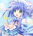 1girl :d ahoge anniversary blue blue_background blue_bow blue_hair blue_scrunchie bow bowtie breasts cleavage copyright_name flower flower_knight_girl green_eyes hair_bow hair_ornament hair_over_shoulder hair_scrunchie hat higa_yukari long_hair looking_at_viewer open_mouth scrunchie shabonsou_(flower_knight_girl) smile solo striped striped_bow twintails upper_body wrist_cuffs x_hair_ornament