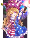1girl :q american_flag_legwear american_flag_shirt american_flag_skirt arm_up blonde_hair clownpiece contrapposto fairy_wings frilled_skirt frills hair_between_eyes hat head_tilt highres holding_torch jester_cap long_hair looking_at_viewer nebula neck_ruff outstretched_arm puffy_short_sleeves puffy_sleeves short_sleeves skirt solo space star star_(sky) tongue tongue_out torch touhou very_long_hair violet_eyes wikumi wings wrist_cuffs