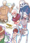 androgynous blush chara_(undertale) cigarette green_shirt multiple_boys papyrus_(undertale) sans shirt shirtless shousan_(hno3syo) skeleton source_request temmie towel undertale