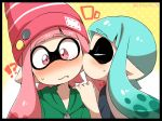 !? /\/\/\ 2girls badge beanie black_border blue_hair blush border button_badge cheek_kiss closed_eyes domino_mask eromame eyebrows eyebrows_visible_through_hair fang hand_on_another's_shoulder hat hood hoodie inkling kiss long_hair mask multiple_girls nose_blush pink_eyes pink_hair pointy_ears splatoon splatoon_(series) splatoon_1 surprise_kiss surprised sweat tentacle_hair twitter_username yuri zipper