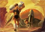 2boys armor armpits black_hair boots broly_(dragon_ball_super) carrying carrying_over_shoulder child claws dragging dragon_ball dragon_ball_super facial_hair full_body gloves gunsorini2 looking_at_another monster mountain multiple_boys mustache paragus pauldrons scar shell short_hair signature smile spiky_hair tail walking white_footwear white_gloves