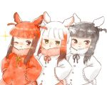 3girls alternate_hairstyle bangs bird_tail bird_wings black-headed_ibis_(kemono_friends) black_hair blush braid commentary_request eyebrows_visible_through_hair frilled_sleeves frills fur_collar hair_bobbles hair_ornament hair_tie hands_on_hips head_wings japanese_crested_ibis_(kemono_friends) kemono_friends long_sleeves moeki_(moeki0329) multicolored_hair multiple_girls neck_ribbon one_eye_closed redhead ribbon scarlet_ibis_(kemono_friends) short_hair sidelocks smile twin_braids twintails twintails_day upper_body white_hair wings