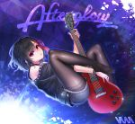 1girl bang_dream! bangs bare_shoulders belt black_hair black_legwear blue_shorts collar denim denim_shorts electric_guitar eyebrows_visible_through_hair guitar highres instrument legwear_under_shorts les_paul mitake_ran multicolored_hair no_shoes pantyhose red_eyes redhead short_hair shorts signature solo streaked_hair studded_collar vana