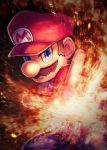 1boy anniversary big_nose blue_eyes brown_hair facial_hair fire hat highres kuroi_susumu male_focus mario mario_(series) mustache nintendo open_hand overalls super_mario_bros. super_smash_bros.